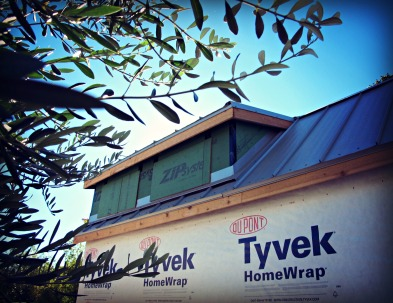 Tyvek wrapping-in-progress.