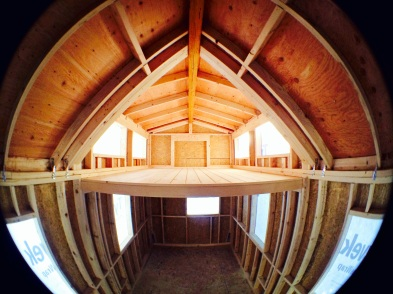 A fisheye shot of the unfinished exterior.