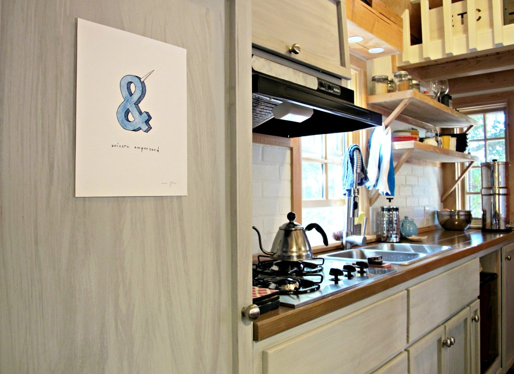 Our main closet (for clothes and shoes) on the left. Unicorn ampersand print by Marc Johns.